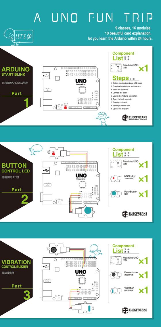 Arduino Starter Kit (pro začátečníky) projekty 1-3