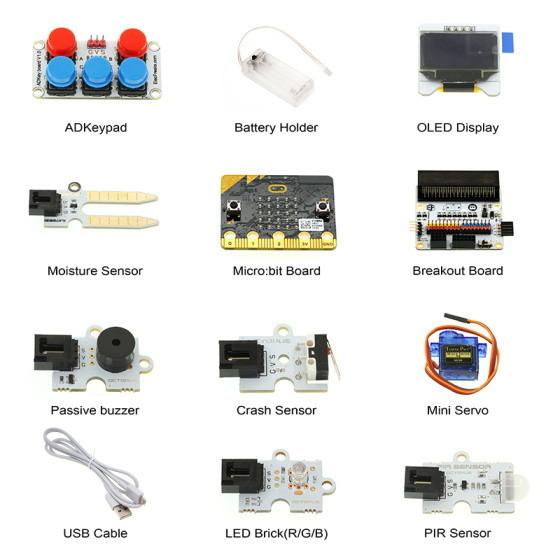 BBC micro:bit kutilský kit komponenty