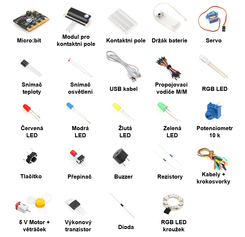 BBC micro:bit Starter Kit - elektronické komponenty