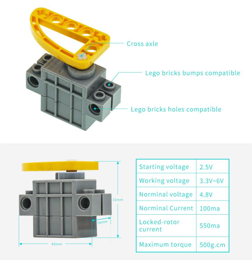 Geekservo 9g 270° kompatibilní s LEGO parametry rozměry