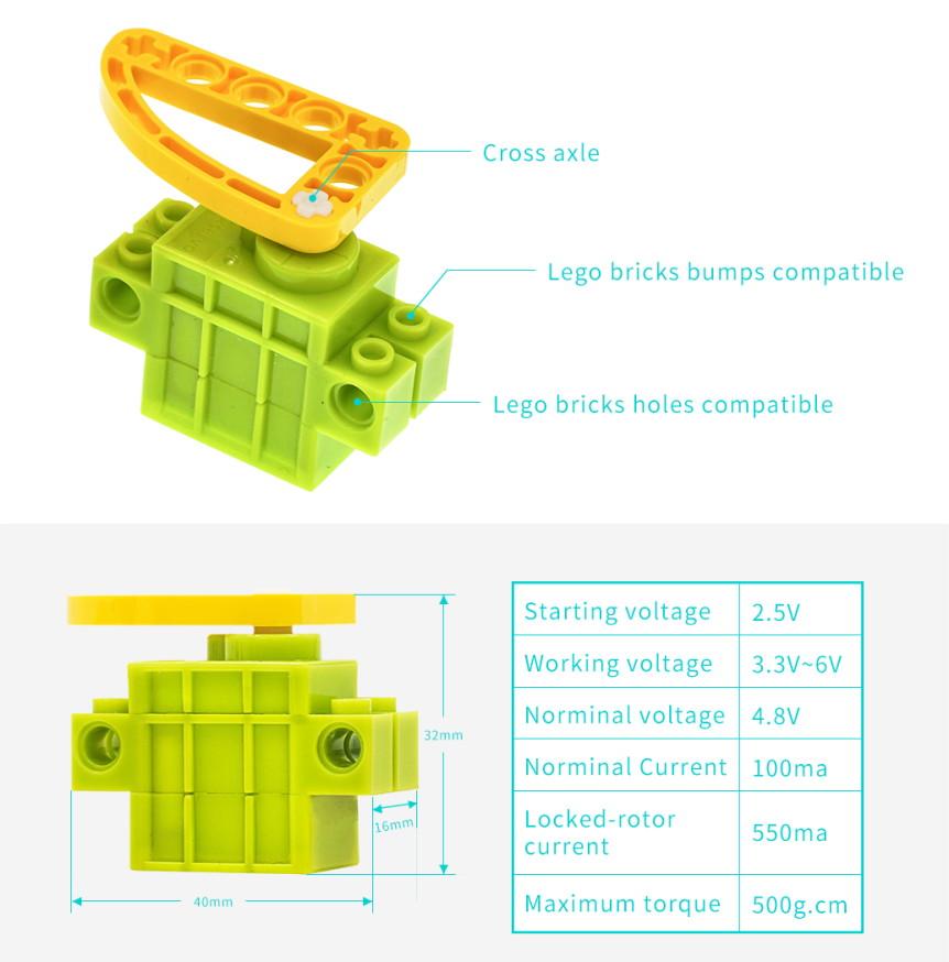 Geekservo 9g 360° kontinuální kompatibilní s LEGO parametry a rozměry