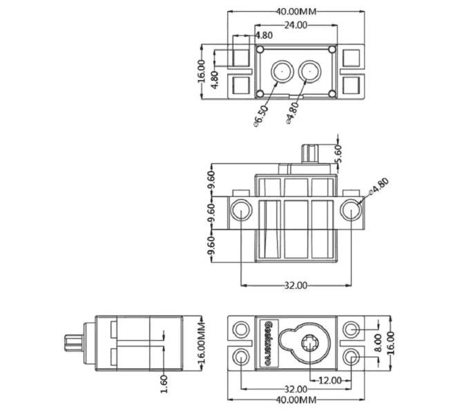Geekservo motor kompatibilní s LEGO rozměry