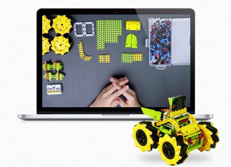 Micro:bit Mecanum bugina s pohybem 360° - bez modulu micro:bit stavebnice LEGO