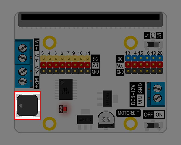 Motor:bit pro micro:bit - rozšiřující modul pro motory - buzzer