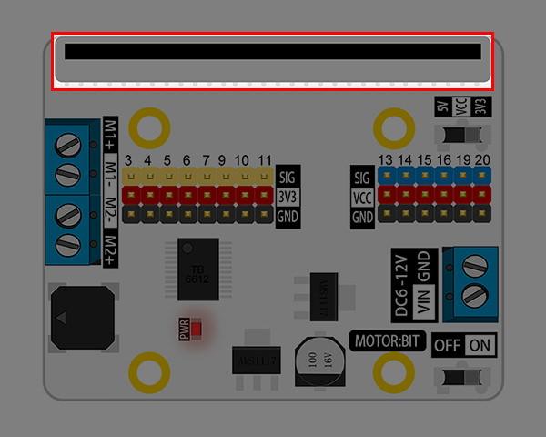 Motor:bit pro micro:bit - rozšiřující modul pro motory - konektor pro microbit