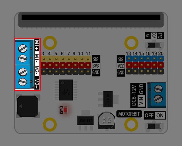 Motor:bit pro micro:bit - rozšiřující modul pro motory - konektory pro motory