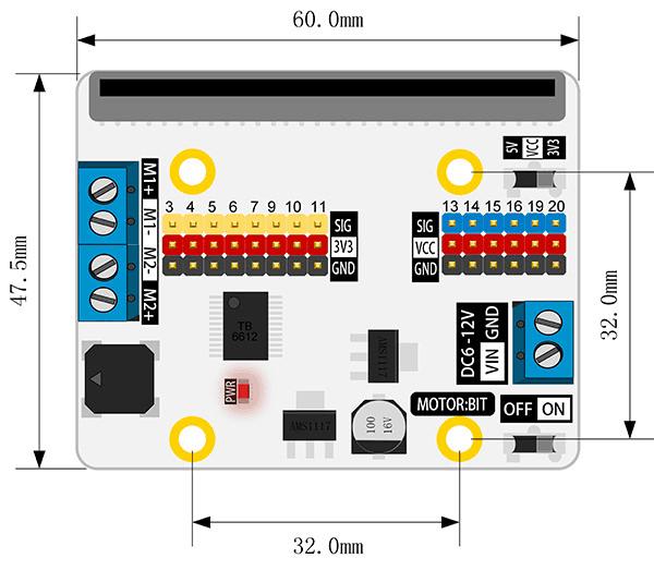 Motor:bit pro micro:bit - rozšiřující modul pro motory - rozměry