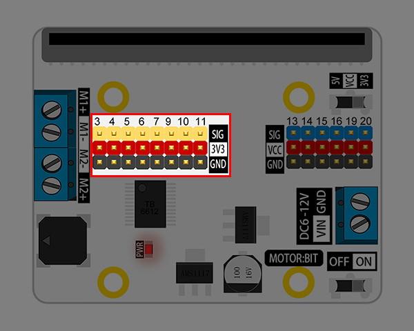 Motor:bit pro micro:bit - rozšiřující modul pro motory - konektor pro zařízení 3,3V
