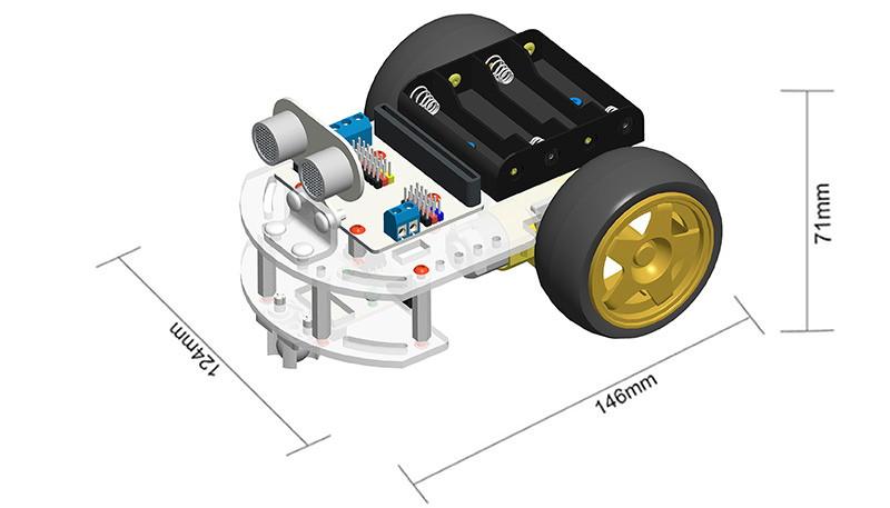 Motor:bit kit chytrý robot s Micro:bit rozměry