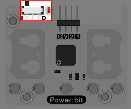 """Power:bit pro micro:bit - """"nositelný"""" napájecí modul - vypínač"""