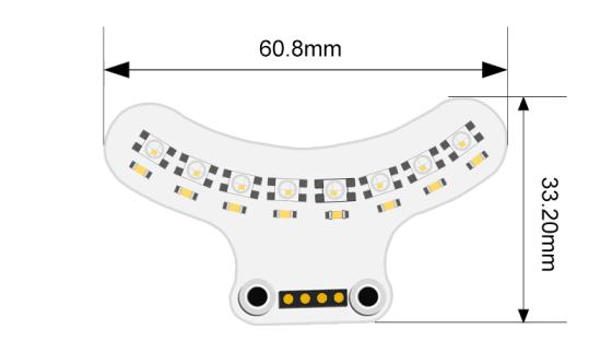 RGB LED duhový nárazník pro robota Ring:bit V2 - rozměry