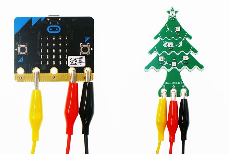 RGB LED vánoční stromek pro micro:bit - zapojení