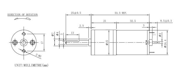 25mm DC Motor Pack - rozměry