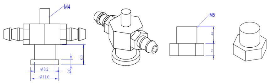 Držák pro vakuovou přísavku SP-30 rozměry