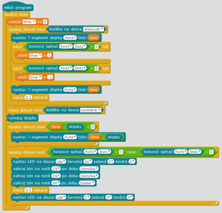 Kreativní Add-on Pack pro mBot & mBot Ranger - II - Stopky s odpočítáváním program