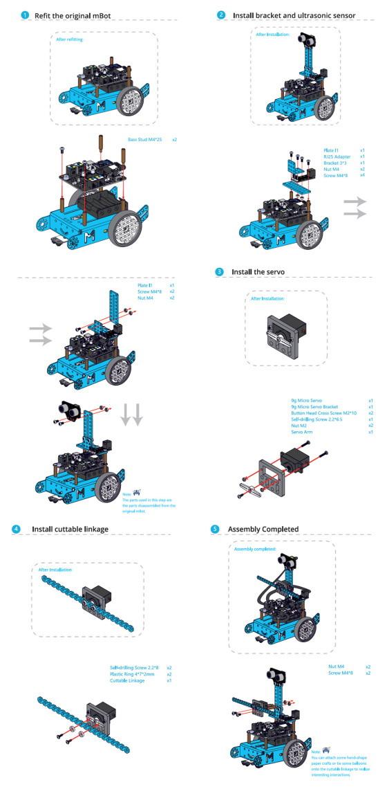 mBot Add-on Pack - Servo Pack - příklad sestavení