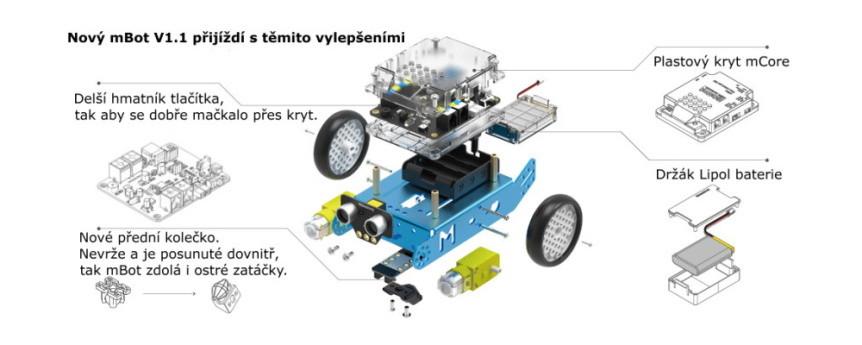 Arduino robot mBot v1.1 - vylepšení