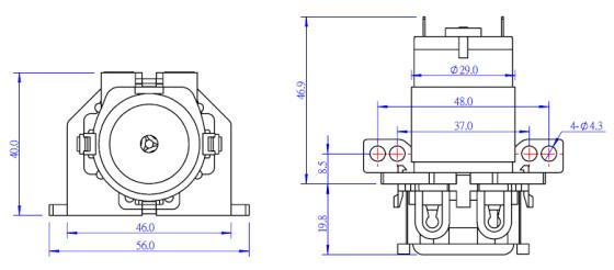 Mikro peristaltické čerpadlo 12VDC - rozměry