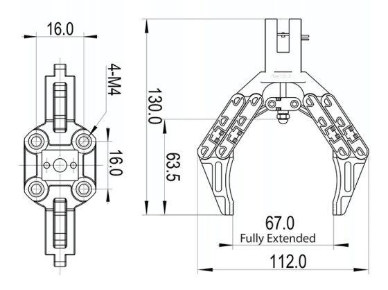 Robotické chapadlo - rozměry
