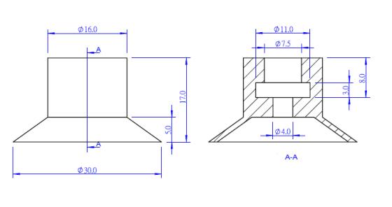 Vakuová přísavka SP-30 rozměry