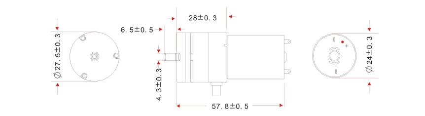 Vzduchové čerpadlo 12VDC 3l/min rozměry